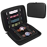 TiMOVO Smart Watch Bands Travel Carrying Case Organizer Storage Bag Stores 8-16 Straps,Compatible with Apple Watch Bands, Fitbit, Samsung, Huawei, Pocket for Watch Straps, Chargers - Black