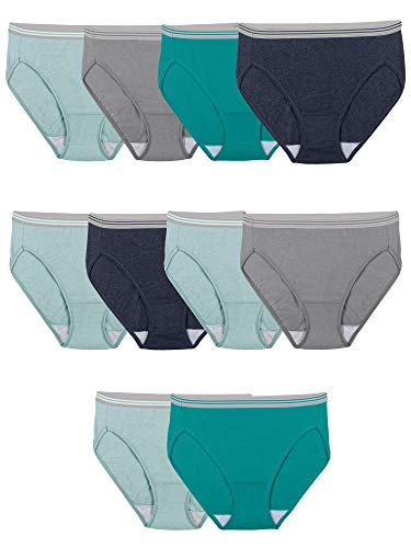 Fruit of the Loom Women s Tag Free Cotton Hi Cut Panties (Regular & Plus Size), 10 Pack-Assorted Heathers, 7