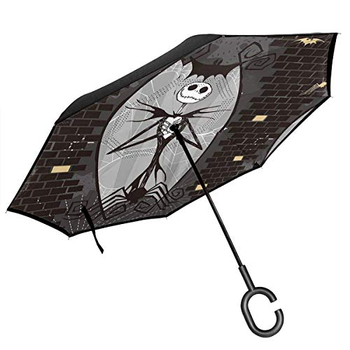 MAichengxuan Paraguas invertido de doble capa con mango en forma de C, Pesadilla antes de Navidad Jack y Sally Skeleton Reverse Paraguas a prueba de viento Protección UV al revés Paraguas al revés ⭐