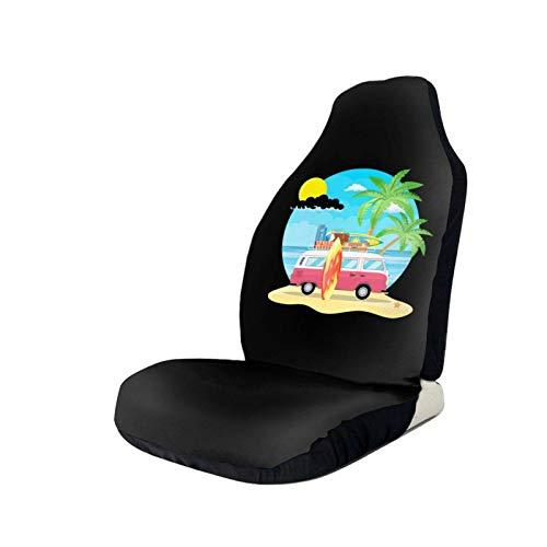 Lewiuzr Summer Seaside Beach Car Camping Fundas de Asiento de automóvil Protector de Asiento Universal Apto para Auto Camión SUV