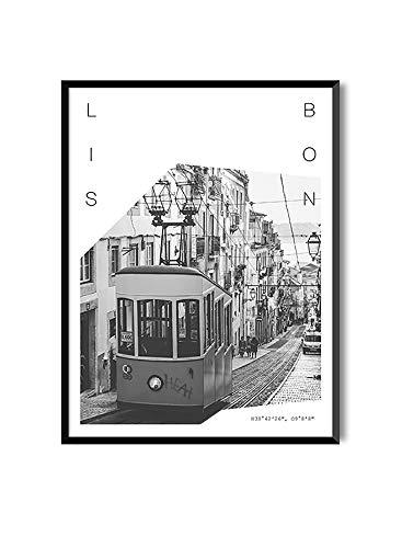 MILUKA Láminas para Enmarcar para Cuadro de Estilo Fotográfico | Póster de Ciudades y Viajes | Lisboa | Blanco y Negro (20 x 30 cm)