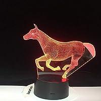 3DイリュージョンナイトライトモデルタッチLedライト子供の寝室の装飾レインボーホースランニングライトリモコン