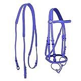 NO LOGO HHTC Halftern, PVC Pferd Reins for große Pferde Edelstahl-Höhle-Mund-Bit Reiten Halter Racing Reiterausrüstung (Farbe : Blue)
