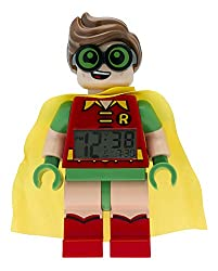 Iconic children's LEGO Batman, Robin mini figure alarm clock. Digital LCD. 9.5 inches tall. Moveable arms and legs. Alarm and snooze functions. Light up display. For ages 6+. 2x AAA batteries included. 2 Year warranty. Perfect gift for kids.