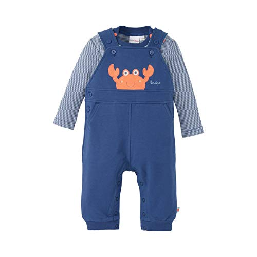 Bornino Seaside Latzhose & Shirt (2-tlg. Set) - geringeltes Langarmshirt mit Druckknöpfen & Latzhose mit Krabben-Applikation - offwhite gestreift/blau