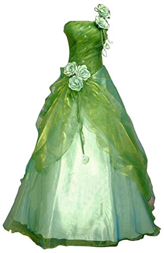 Romantic-Fashion Damen Ballkleid Abendkleid Brautkleid Lang Modell E230 A-Linie Blüten Perlen Pailletten DE Grün Größe 40