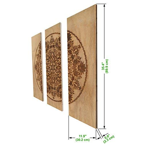 """3-Piece Wooden Wall Decor, Decorative 3 Piece Wood Hanging Art with Engraved Design 35.4 x 35.4 Square, 11.9 x 35.4"""" Each Panel, Accent for Home & Office Rustic Antique Distressed Look"""