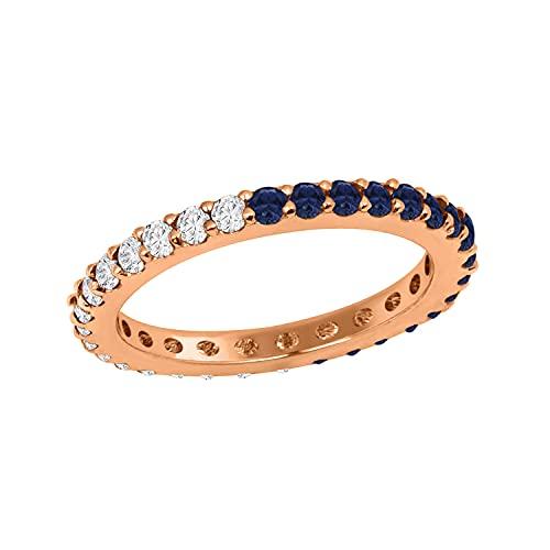 925 ronde en argent sterling 2 MM Saphir bleu pleine éternité Bague superposable cadeau pour elle (Plaqué Or Rose, 9.5)