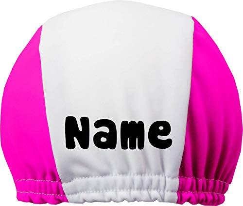 DRUCKEICH Zweifarbige Badekappe für Kinder und Erwachsene mit Ihrem Wunschtext oder Name/Fb. Pink-Weiss/Gr. 2 (ab 7 ahre)