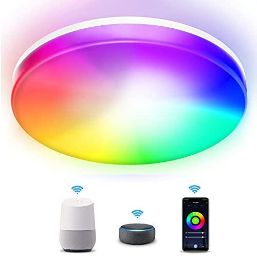 Kallrra Redondo Plafon LED Techo, RGB 28W Lampara LED Techo Modernos, WiFi Bluetooth Plafones para Techo Regulable IP54, Alexa Lámpara Techo APP Control para Habitacion Salon Dormitorio Cocina Baño