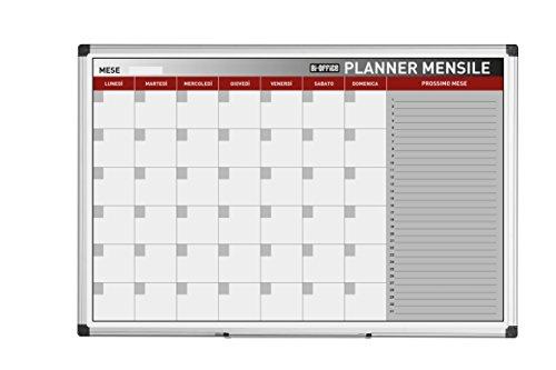 Bi-Office Planner Mensile In Italiano, Lavagna Magnetica Per Planning Mensile Cancellabile A Secco, 90 x 60 cm