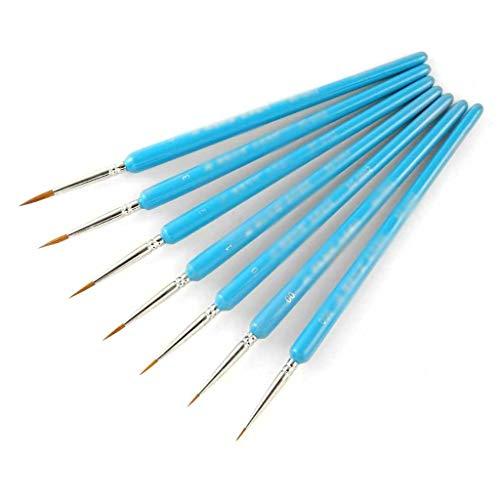 SJYDQ 7 unids Blue Weasel Hair Hook Line Penfine Pinte Cepillo Conjunto Artista Guego Acuarela Acrílico Acrílico Pintura Al Óleo Suministros Artista
