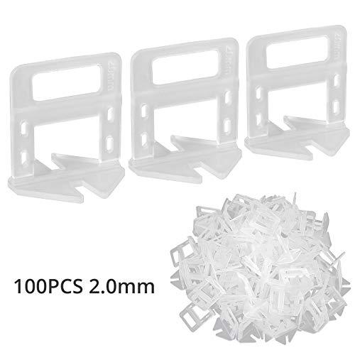 100 piezas Clip de Nivelación para Azulejos 2.0mm Sistema de Nivelación Espaciador Plastico para Nivelación para Ceramica Baldosa Tile Mosaico