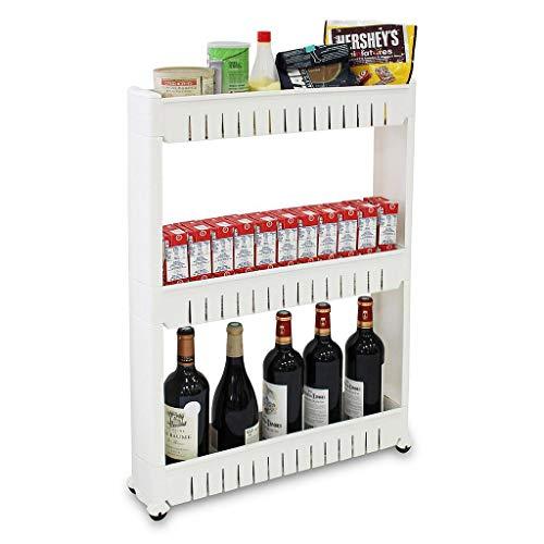 Todeco - Scaffale con Ruote, Ripiani Salvaspazio - Materiale: Plastica - Peso: 1,79 kg - 3 Scomparti, 78 x 54 x 12 cm, Bianco