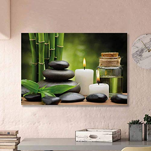ParadiseDecor Spa Wall Decor for Living Room No Frame Hot Massage Rocks Combined with Candles and Scents Landscape of Bamboo Print Ideas for Coworkers Green White and Black L32 x H48 Inch