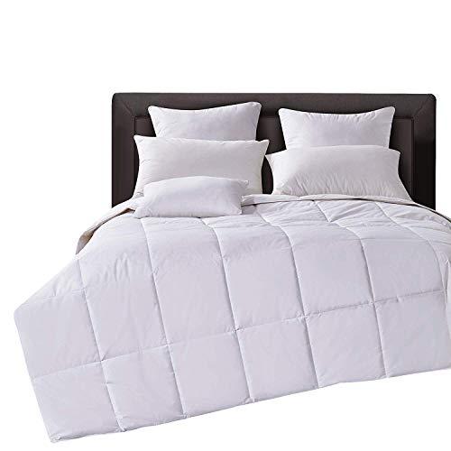 Lightweight Down Comforter Duvet Insert Cotton 550 Fill Power, White, Full/Queen Size