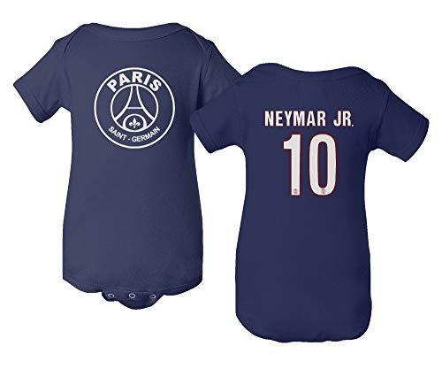 Spark Apparel Paris Soccer Shirt #10 Neymar Jr. Little Infant Baby Short Sleeve Bodysuit (Navy, 6M)