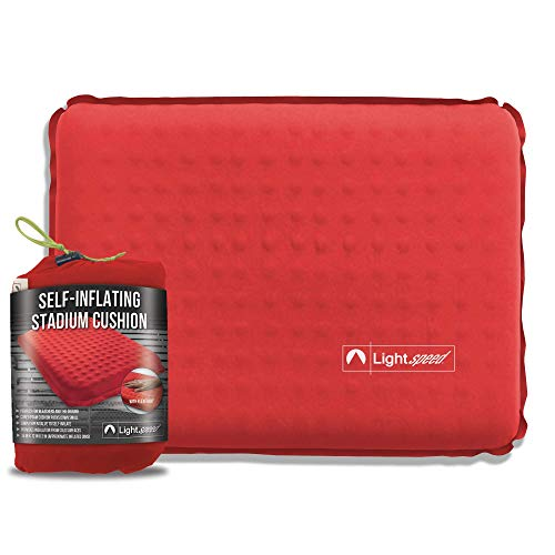 Lightspeed Outdoors Self-Inflating Stadium Seat Cushion with an Integrated Carry Bag (Red)