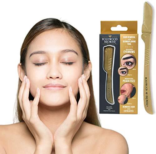 Hollywood Browzer wenkbrauw scheermes - Ontharing scheerapparaat, trimmer, shaper | Verwijderen van ongewenste haren | Dermaplaning | Exfoliation | Inclusief beschermhoesje - Gemaakt van duits roestvast staal, in de kleur koninklijk goud