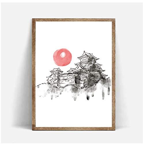 sjkkad Japanse tintentoren wooncultuur canvas poster HD druk Nordic eenvoudig schilderij muurkunst afbeelding voor woonkamer 60 x 80 cm geen lijst