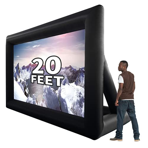 GYUEM 20 feet Inflatable Portable Projector Movie Screen - Huge Air-Blown Cinema Projection Screen Package with Rope, Blower,Tent Stakes - Front & Rear Projection,for Outdoor Party Backyard Pool Fun