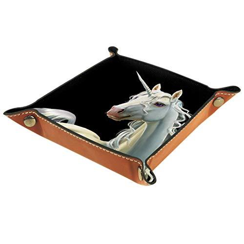 Modernes Einhorn-Pferde-Tablett aus PU-Kunstleder, für Damen und Herren, für Schmuck, Schlüssel, Münzen, Telefon, Schmuck, Geldbörse.