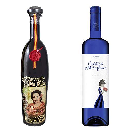 Manzanilla La Kika y Castillo Miraflores - D. O. Manzanilla de Sanlúcar de Barrameda y D. O. Rueda- 2 botellas de 750 ml