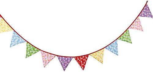 G2PLUS 3.3M Banderines Guirnaldas de Bandera Banderines Tela,Guirnaldas de Tela,Tri/ángulo Retro Banner,para Dormitorio,Fiestas de Cumplea/ños o Decoraci/ón