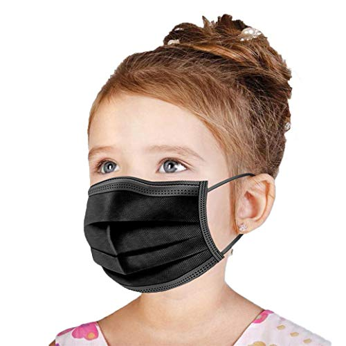 Kids Face Mask Disposable Black 50 PCS US BRAND Wanwane Ages 412 Childrens Breathable Safety Toddler Face Masks
