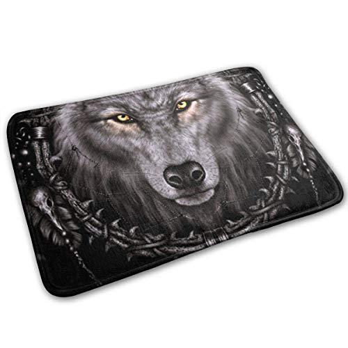 Amanda Walter Alfombrillas Antideslizantes Native Wolf Spirit para el hogar, jardín, Alfombra de Bienvenida, Alfombra de Entrada, Alfombrilla para pies para felpudos de baño, 40x60cm