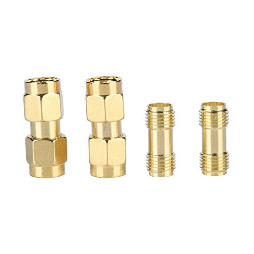 SMA-connector, 2 SMA male naar SMA male + 2 SMA female naar SMA female Adapter HF coaxiale adapter Aansluiting voor antennes, WLAN-apparaten, coaxkabels