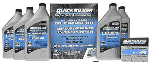 Quicksilver 8M0081913 Oil Change Kit for 75/90/115 HP (1.7L) Engines - Oil, Oil Filter, Drain Plug Seal Included