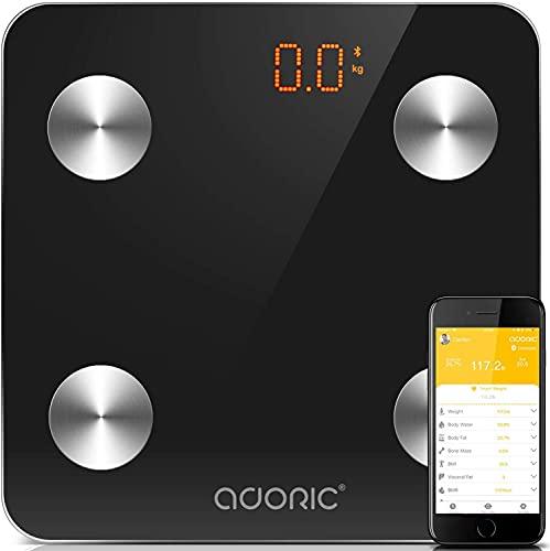 Báscula de Baño Báscula Inteligente Bluetooth Báscula Digital con IMC de Alta Precisión, Monitores de Peso Corporal Maximo 180kg para Andriod (4.0 y superior) y IOS(8.0 y superior) (Negro Brillante)
