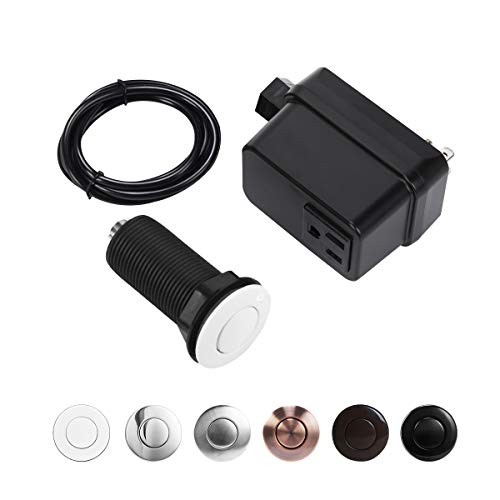 CLEESINK Garbage Disposal Air Switch Kit Sink Top Switch Plastic White LONG/25quot Button