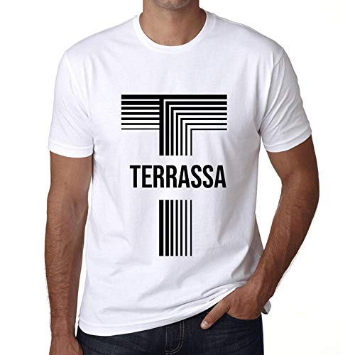 Hombre Camiseta Vintage T-Shirt Gráfico Letter T Countries and Cities TERRASSA Blanco