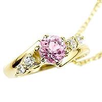 [アトラス] Atrus ネックレス メンズ 18金 イエローゴールドk18 ピンクサファイア ダイヤモンド ベビーリング 9月誕生石 チェーン(sv925イエローメッキ)