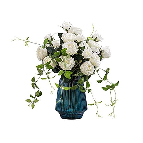 GPWDSN Künstliche Blumen Künstliche Blumen Feuchtigkeitsspendende Rosenblüten Künstliche Blumen Wohnzimmer Bürodekoration Seidenblume Esstisch Hochzeitsblumengesteck Künstliche Blumen (Weiß)