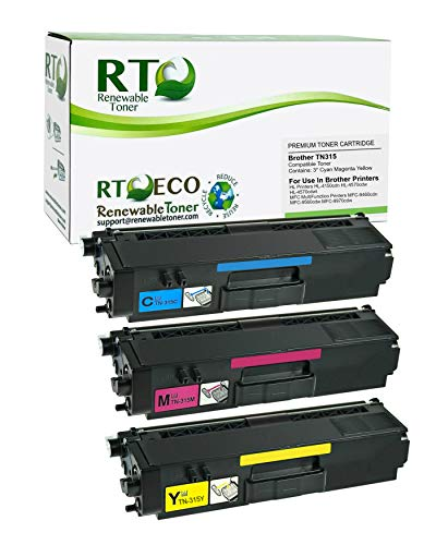 Renewable Toner Compatible Toner Cartridge Replacement for Brother TN315 TN-315 HL-4150 4570 MFC-9460 9560 9970 (Cyan, Magenta, Yellow, 3-Pack)