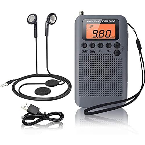 GEQWE Mini Radio, Radio Personal DSP Digital FM/Am De Bolsillo, con Altavoz, Reloj Despertador Y Temporizador, Radio De Mano para Ducha, Cocina con Auriculares, Soporte para Batería Reemplazable AAA