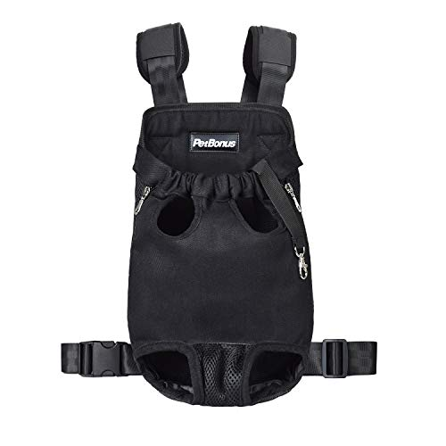 PetBonus Denim Front Kangaroo Pouch Dog Carrier, Wide Straps Shoulder Pads, Adjustable Legs Out Pet Puppy Backpack Carrier Walking, Travel, Hiking, Camping, Black, Large
