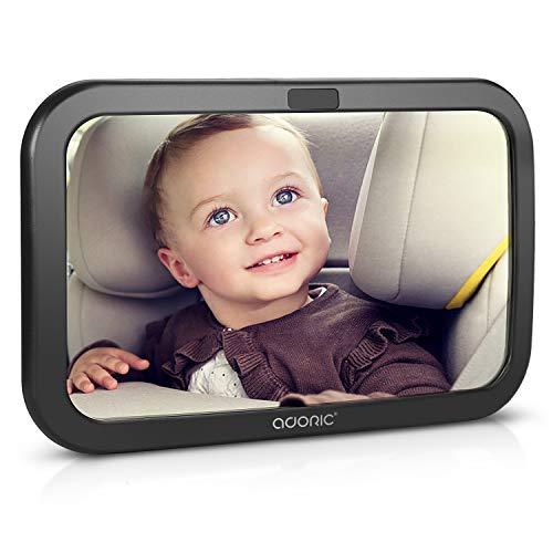Miroir Voiture Bébé Retroviseur de Surveillance - Adoric Retroviseur Voiture Bebe Réglable avez une Rotation 360°(Noir)