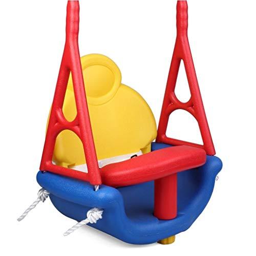 Columpios infantiles 3-en-1 del niño oscilación asiento ajustable de la cuerda al aire libre Jardín Seguridad Columpio for la terraza cesta de plástico loco y divertido Juegos Juguete respaldo alto de