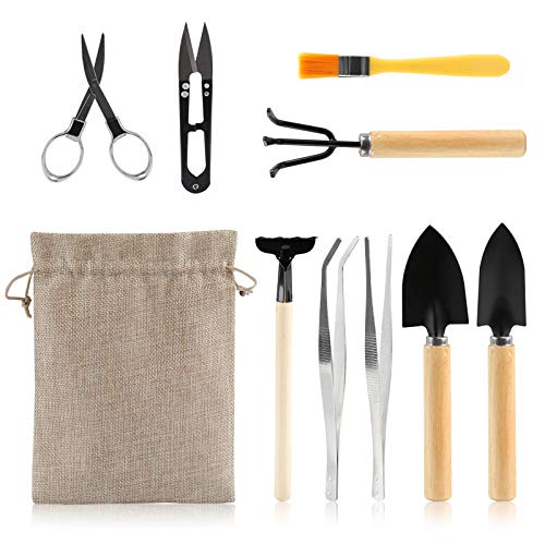 LIHAO 9 Piece Basic Bonsai Tools Set, Includes Pruning Shears, Mini Rake, Fold Scissors and More