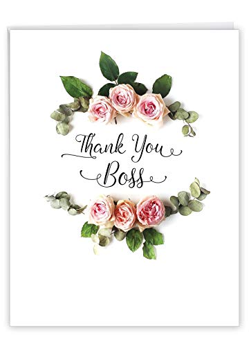 Elegant Flowers Boss Thank You' Big Greeting Card with Envelope 8.5 x 11 Inch - for the Best Manager, CEO, Leader - Bouquet of Pink Carnations - Stationery Set for Personalized Thanks J4175ABYG