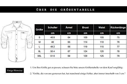 COOFANDY Herren Hemd Slim Fit Langarmhemd Freizeit Kentkragen Sommer Herren Hemden Business Party Shirt Für Männer Grau M - 6