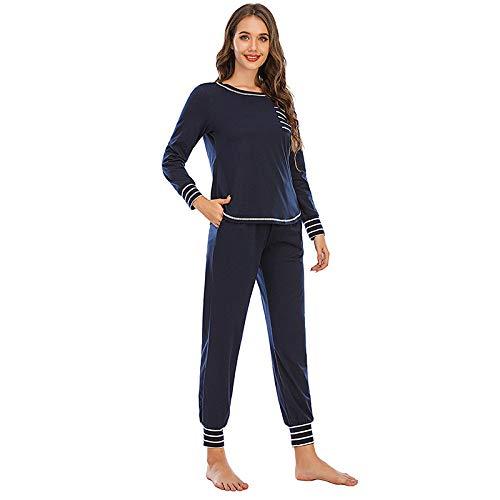 LUOY Damen Pyjama Set,Winter Damen Weiche Thermal Nachtwäsche Gestreifte Manschetten Marineblau Langarm Round Neck Tops Hosen Mit Taschen Loungewear, L.
