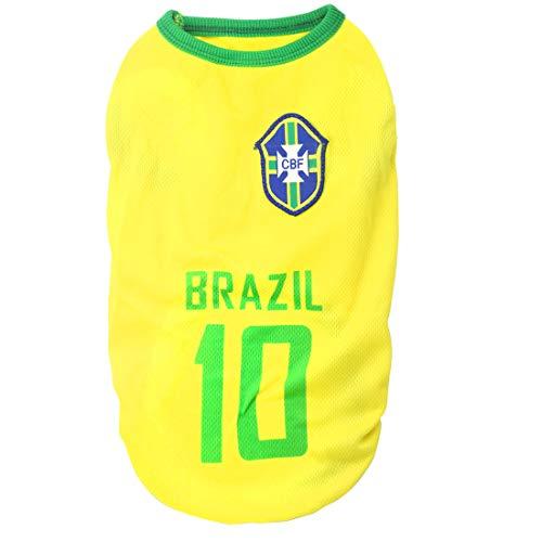 XMSJSIY National Soccer Team Pet Dog Jersey T-Shirt,Pet Shirts Puppy Dog Vest Pet Clothing Costume Apparel Female Male Dogs & Cats Available-2pcs (M: Length:30cm/ Bust:40cm, Brazil)