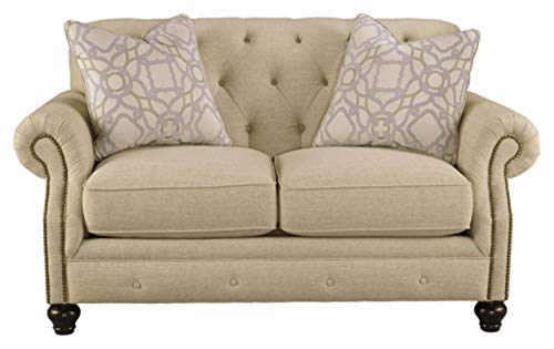 Signature Design by Ashley - Kieran Traditional Diamond Tufted Back Loveseat w/ 2 Pillows, Beige