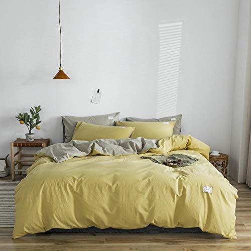 FPXNBONE Juego Completo de sábanas de algodón,Juego de Cuatro Piezas de algodón Lavado, Funda de edredón de Lino de algodón en Color Liso-_R_2.2x2.4m,Colchón Protector Cama Doble