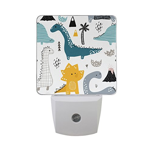 Plug-in LED Night Light Lamp Dino Scandinavian Style Printing with Dusk to Dawn Sensor for Bedroom, Bathroom, Hallway, Stairways, 0.5W-2 Pack